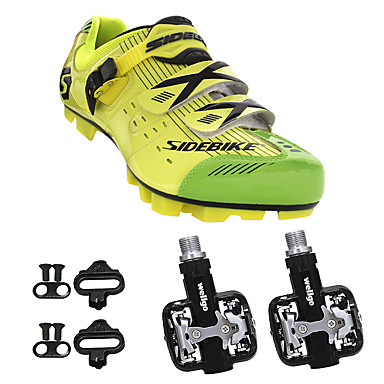 SIDEBIKE Cycling Shoes With Pedals & Cleats / Mountain Bike Shoes Wearable Cycling Red and White / Black / Blue / Black / Yellow Men's