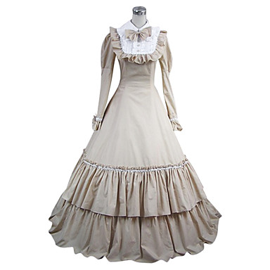 Medieval Costume Women's Dress / Party Costume / Masquerade White Vintage Cosplay Cotton Long Sleeve Cap Sleeve Floor Length