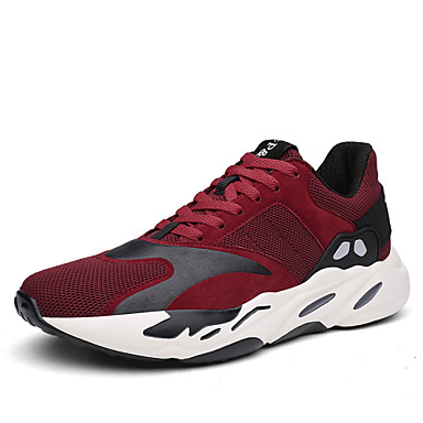Women's Shoes Tulle Fall / Winter Comfort / Light Soles Athletic Shoes Running Shoes Flat Heel Lace-up Black / Gray / Red