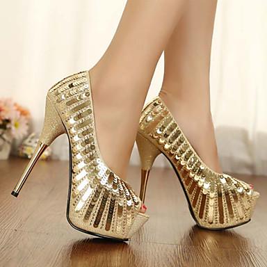 ouvert Femme Polyuréthane Nouveauté mariage Chaussures Or 06318185 Printemps de Confort Bout Paillette Paillettes Chaussures Automne nAwRCqAP