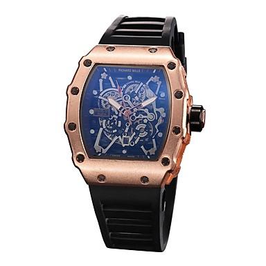e827a12fee3 Homens Relógio Esportivo Relógio Esqueleto Relógio de Pulso Quartzo Borracha  Preta Relógio Casual Analógico Amuleto - Preto Prata Ouro Rose