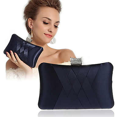 billige Bryllupssko-Dame Krystalldetaljer Silke Aftenveske Rhinestone Crystal Evening Bags Fuksia / Vin / Marineblå