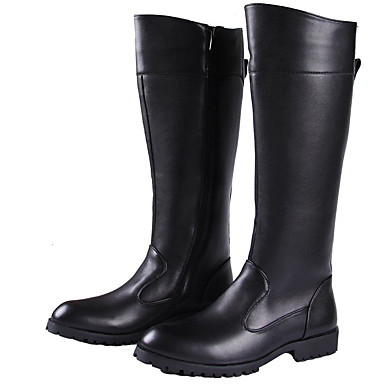 Men's Fashion Boots Synthetic Fall / Winter Motorcycle Boots Boots Knee High Boots / Mid-Calf Boots Black / Party & Evening