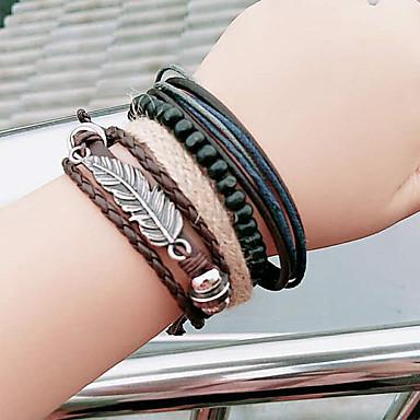 abordables Bracelet-Bracelets Plusieurs Tours Femme Cuir Forme de Feuille Rétro Vintage Mode Bracelet Bijoux Marron pour Décontracté