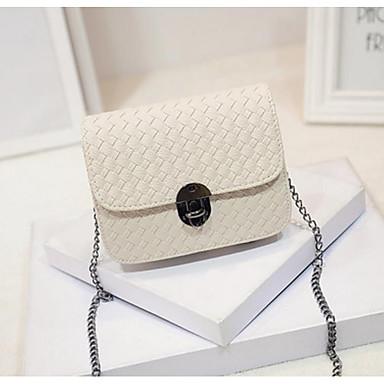 Women's Bags PU(Polyurethane) Crossbody Bag Zipper White / Black / Silver