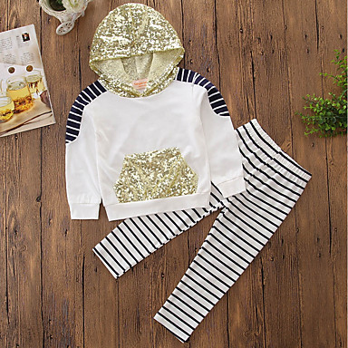 Girls' Stripe Embroidered Clothing Set, Cotton Polyester Spring Fall Long Sleeves Dresswear Stripes White
