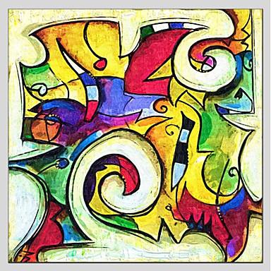 Hang festett olajfestmény Kézzel festett - Absztrakt Absztrakt / Realizmus / Rusztikus Tartalmazza belső keret / Nyújtott vászon