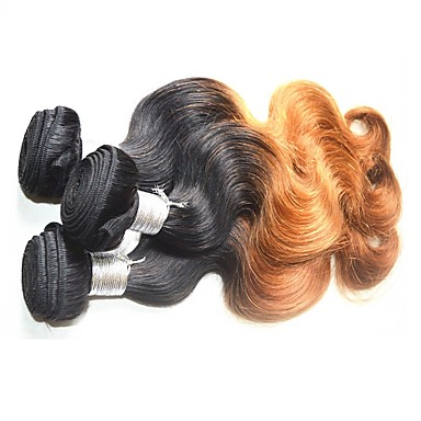 Brazilian Hair Body Wave Remy Human Hair Ombre Hair Weaves / Hair Bulk Ombre Human Hair Weaves Human Hair Extensions