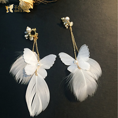 Women's Tassel Clip Earrings - Classic, Tassel White For Wedding / Party