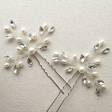 Imitation Pearl / Rhinestone Flowers / Hair Stick / Hair Pin with 1 Wedding / Special Occasion / Anniversary Headpiece