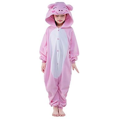 Kigurumi-pysjamas Grisunge / gris Onesie-pysjamas Kostume Polar Fleece Rosa Cosplay Til Barne Pysjamas med dyremotiv Tegnefilm Halloween