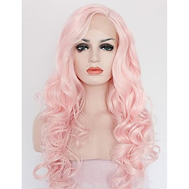 Synthetic Lace Front Wig Curly / Wavy Pink Synthetic Hair Pink Wig Women's Medium Length / Long Lace Front
