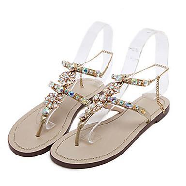 Women's Shoes PU(Polyurethane) Summer / Fall Comfort / Novelty Sandals Flat Heel Open Toe Crystal / Rivet / Sparkling Glitter Gold / White