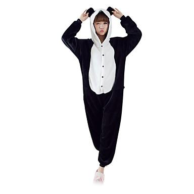 Kigurumi-Pyjamas Panda Pyjamas-Einteiler Kostüm Polar-Fleece Schwarz / Weiß Cosplay Für Erwachsene Tiernachtwäsche Karikatur Halloween