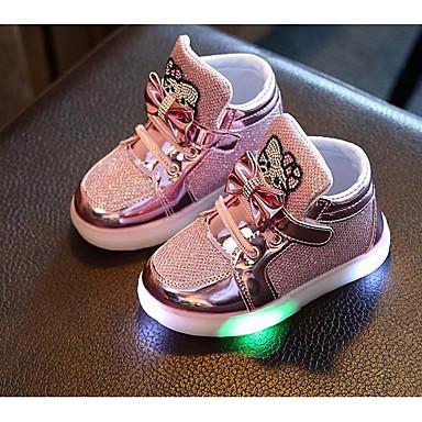 billiga Bästsäljande-Flickor PU Sneakers Lilla barn (4-7år) Komfort Silver / Fuchsia / Rosa Höst / Vinter