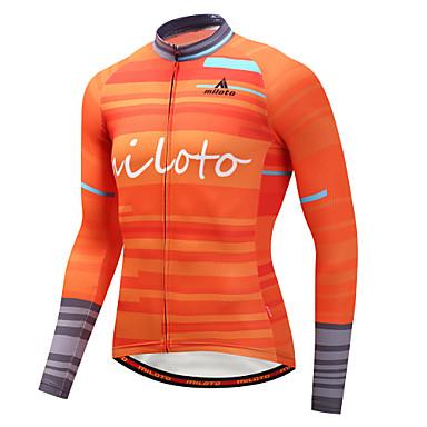 Miloto Homme Manches Longues Maillot de Cyclisme - Orange Cyclisme Maillot Hauts / Top Des sports Hiver Polyster VTT Vélo tout terrain Vélo Route Vêtement Tenue / Elastique