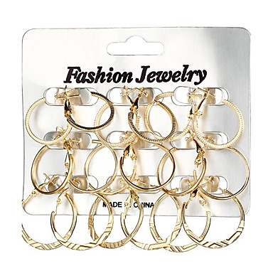 18pcs Women's Geometrical Hoop Earrings - Ladies Geometric Fashion Jewelry Gold / Silver For Gift Daily