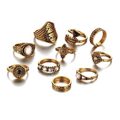 billige Motering-Dame geometriske Ring Turkis Statement Motering Smykker Gull / Sølv Til Daglig En størrelse 10pcs