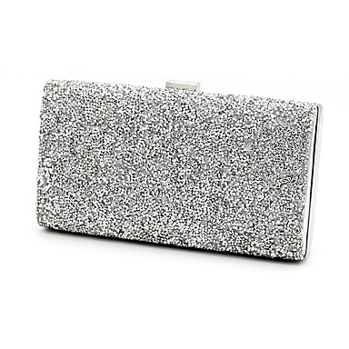 Women's Bags leatherette Evening Bag Crystals Black / Silver / Black Grey / Wedding Bags / Wedding Bags