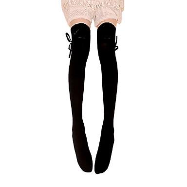 Çoraplar Uyluk Yüksekliğinde Çoraplar Klasik / Geleneksel Lolita Bağcıklı Kadın's Siyah Lolita Aksesuarları Fiyonk Düğüm Dantel Uzun Çorap Pamuk Cadılar Bayramı Kostümleri