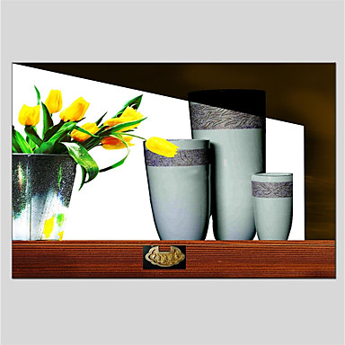 Oil Painting Hand Painted - Still Life Classic Canvas / Stretched Canvas