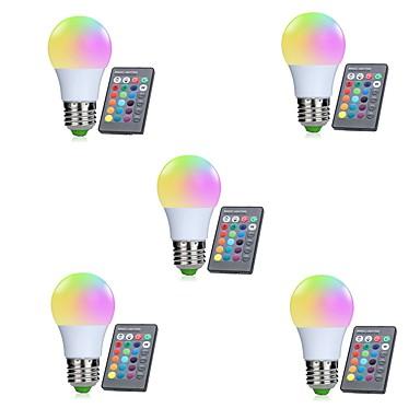 5pcs 3W 250lm E26 / E27 Okos LED izzók 10 LED gyöngyök SMD 5050 Infravörös érzékelő / Tompítható / Távvezérlésű RGBW 85-265V / RoHs / FCC