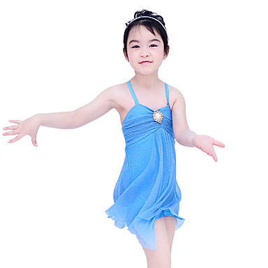 Ballett Kleider Damen Kinder Leistung Polyester Elasthan Perle Kaskaden Rüschen Rüschen Ärmellos Normal Kleid Kopfbedeckung