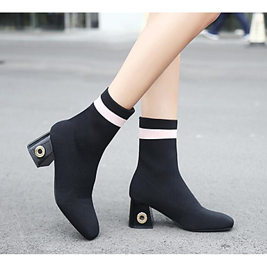 Women's Nubuck leather Fall / Winter Fashion Boots / Combat Boots Boots Chunky Heel Square Toe Booties / Ankle Boots Black / Red