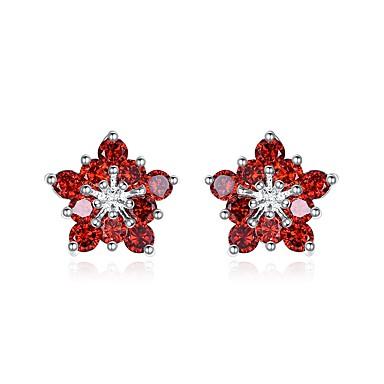 Women's Cubic Zirconia Drop Earrings - Imitation Pearl Flower Basic, Fashion Red For Party Work
