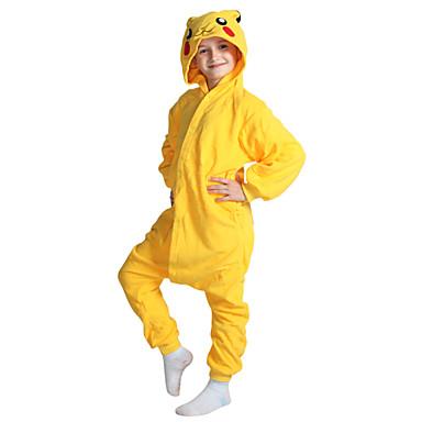 Niños Pijamas Kigurumi Pika Pika Pijamas de una pieza Vellón de Coral Amarillo Cosplay por Niños y niñas Ropa de Noche de los Animales Dibujos animados Festival / Celebración Disfraces