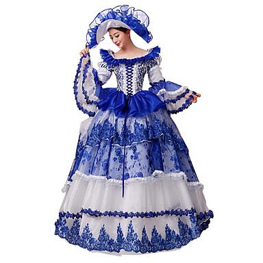 Rokokoo Viktoriaaninen Asu Naisten Juhla-asu Naamiaisasu Sininen Vintage Cosplay Pitsi Silkki Pitkähihainen