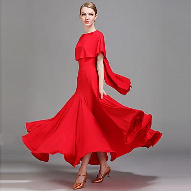 Ballroom Dance Dresses Women's Performance Ice Silk Ruffles Natural Dress