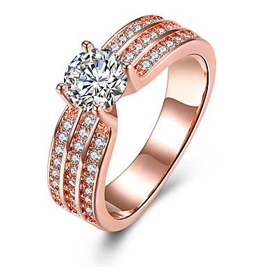 Női Kristály Band Ring / Eljegyzési gyűrű - Cirkonium, Ötvözet Szív 6 / 7 / 8 Vörös arany Kompatibilitás Esküvő / Parti / Születésnap