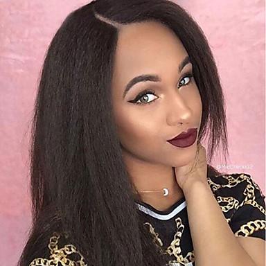 Włosy naturalne Koronkowy przód Peruka Włosy brazylijskie Prosto Yaki 130% Gęstość Z Baby Hair Glueless Nieprzereagowany Długo Damskie