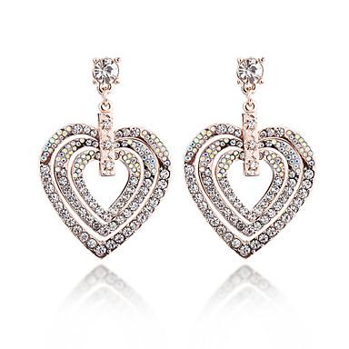 Damskie Kryształ, Rhinestone Kolczyki wiszące - Kryształ Serce Gold