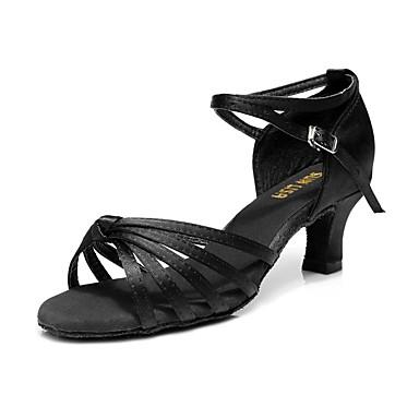 Damen Schuhe für den lateinamerikanischen Tanz Seide Sandalen Maßgefertigter Absatz Maßfertigung Tanzschuhe Braun / Schwarz und Gold /