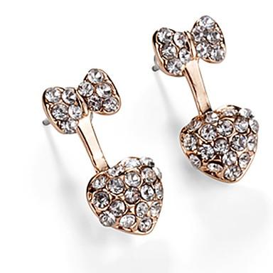 Damskie Kolczyki na sztyft Podstawowy Kryształ Stop Bowknot Shape Biżuteria Gold Codzienny Party Wieczór Biżuteria kostiumowa