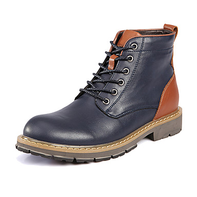 Men's Shoes Leather Winter Fall Combat Boots Bootie Motorcycle Boots Fashion Boots Snow Boots Boots Booties/Ankle Boots Lace-up for