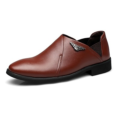 Męskie Buty Mikrowłókno Skóra Wiosna Lato Comfort Mokasyny i pantofle na Ślub Casual Black Brown
