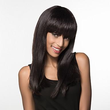 Ludzkie Włosy Capless Peruki Włosy naturalne Prosto Długo Tkany maszynowo Peruka Damskie / Prosta