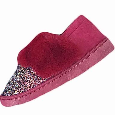Damskie Obuwie PU Zima Comfort Mokasyny i pantofle Płaski obcas Okrągły Toe Black / Czerwony / Różowy