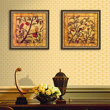 Zwierzęta Kwiatowy/Roślinny Ilustracja Wall Art,PVC (polichlorek winylu) Materiał z ramą For Dekoracja domowa rama Art Living Room