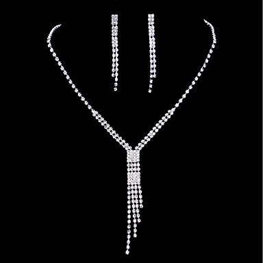 Damskie Cyrkonia, Rhinestone Biżuteria Ustaw Kolczyki wiszące, Naszyjniki z wisiorkami - Cyrkonia, Kryształ górski Silver