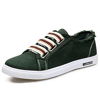 Men's Shoes Fabric Spring Fall Comfort Sneakers Lace-up For Outdoor Black Gray Green