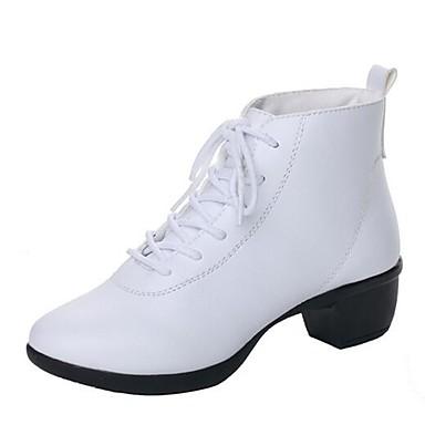Damskie Obuwie taneczne Skóra Buty Niski obcas Buty do tańca White / Black / Czerwony