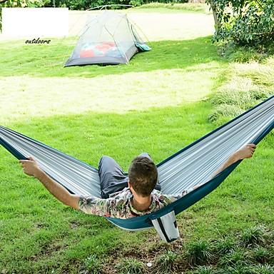 Hamak turystyczny Na wolnym powietrzu Składany, wyciskanie Tworzywo na Camping & Turystyka - 1 osoba Orange / Dark Blue