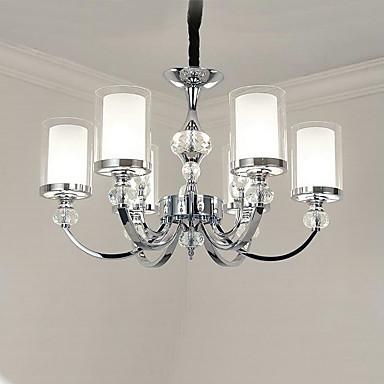 QINGMING® 6-światło Świeca Żyrandole Oświetlenie od dołu (uplight) - Kryształ, Styl MIni, 110-120V / 220-240V Nie zawiera żarówki / 15/10 ㎡ / E12 / E14