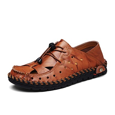 Men's Cowhide Summer Comfort Sandals Brown Black / Yellow / Brown Sandals d8ff58