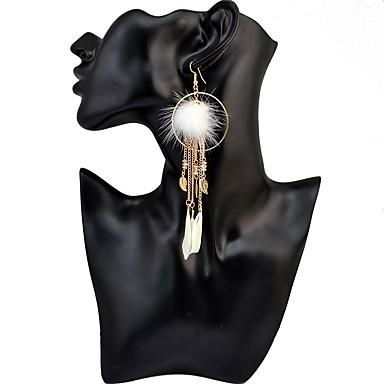 Damskie Kolczyki wiszące Kolczyki koła Kutas Artystyczny Wyrazista biżuteria Elegancki Modny Pokryte piórami Stop Leaf Shape Geometric