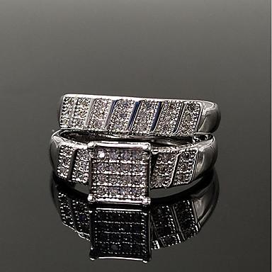 Damskie Band Ring Cyrkonia Rhinestone Silver Srebro standardowe Cyrkonia Vintage Elegancki Ślub Zaręczynowy Ceremonia Biżuteria kostiumowa